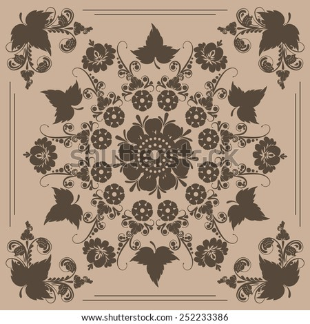 seamless pattern with floral ornament with elements of berries and leaves - stock vector