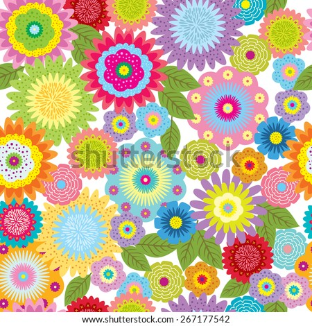 Seamless pattern with flower for design fabric,backgrounds, package, wrapping paper, covers, fashion  - stock vector