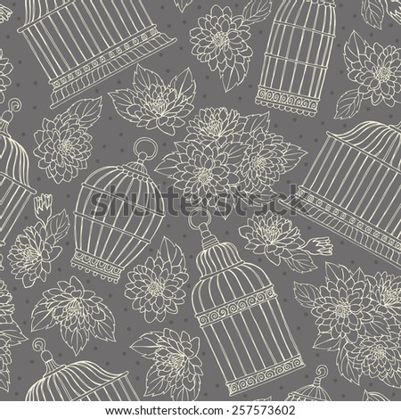Seamless pattern with flowers and bird cages. Chrysanthemums. - stock vector