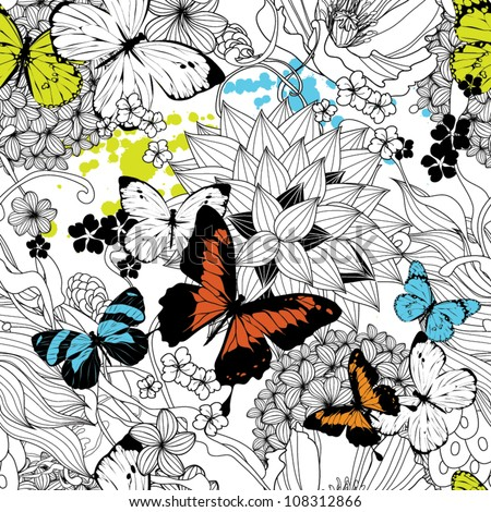 Seamless pattern with flowers and butterflies - stock vector