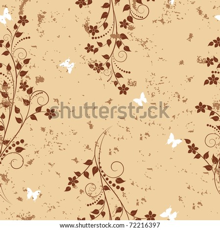 Seamless pattern with flowers and butterflies on grunge background. Vector. - stock vector