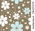 seamless pattern with flowers and butterflies, vector illustration - stock vector