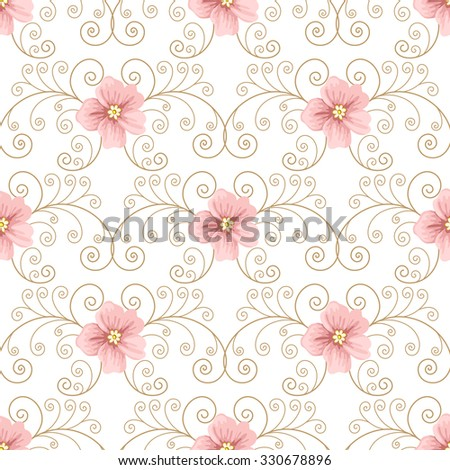 Seamless pattern with flowers and curly design elements on white background. Vector illustration in retro style.  - stock vector