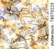 Seamless pattern with flowers and leaves - stock photo