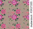 Seamless pattern with flowers, buds and leaves in the background. - stock vector