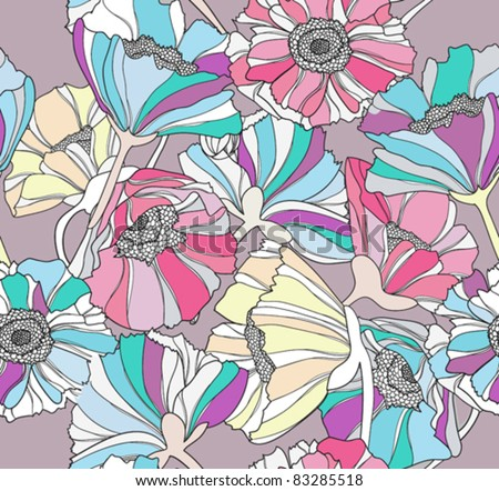 Seamless pattern with flowers.  Colorful floral background. - stock vector
