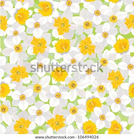 seamless pattern with flowers daffodils - stock vector