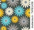 Seamless pattern with flowers, endless floral texture - stock vector
