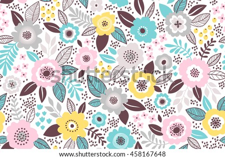 Seamless Pattern With Flowers For Design. Small Colorful Multicolor  Flowers. White Background. Modern
