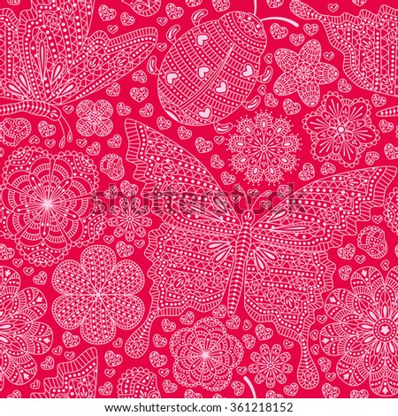 Seamless pattern with flowers, hearts and butterflies. Romantic floral background in pink colors. Detailed vector illustration.