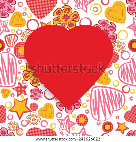 Seamless Pattern with Flowers, hearts, stars and a Red Paper Heart Symbol in the middle. Happy Valentine's Day. Vector illustration EPS 10  - stock vector