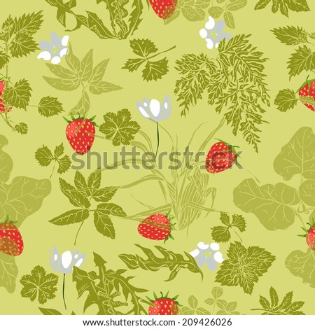 Seamless pattern with flowers, herbs and strawberries - stock vector