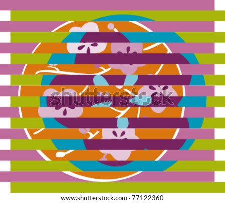 seamless pattern with flowers in japan style  collage - stock vector