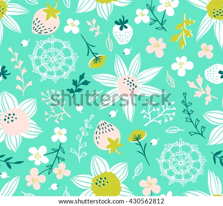 Seamless pattern with flowers, leaves, berries and lace. Endless background. Stylish fabric design. Vector summer template. - stock vector