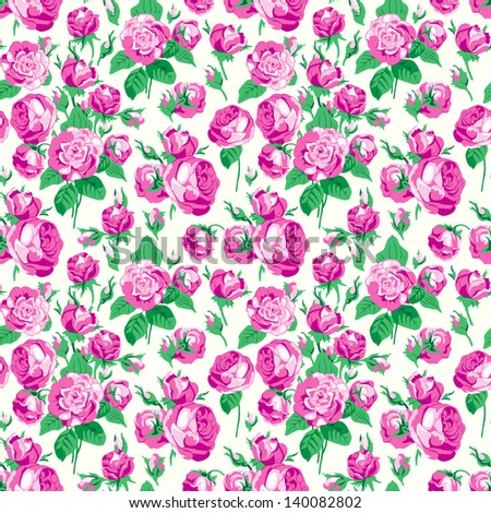 Seamless pattern with flowers of a dog rose - stock vector
