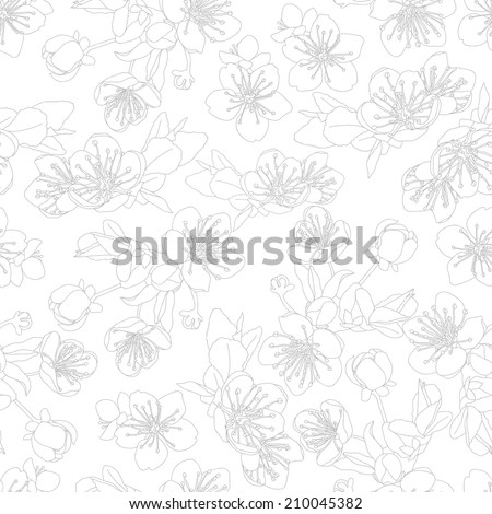 seamless pattern with flowers of sakura