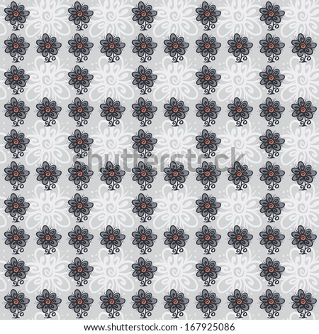 Seamless pattern with flowers on a gray background