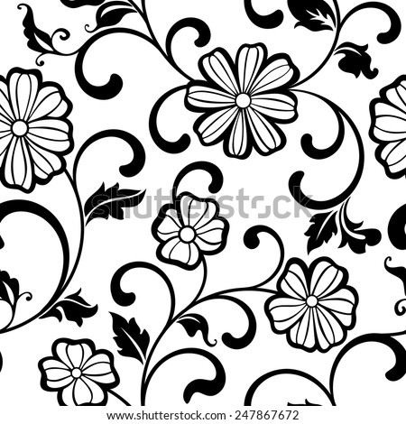 Seamless pattern with flowers on a white background - stock vector