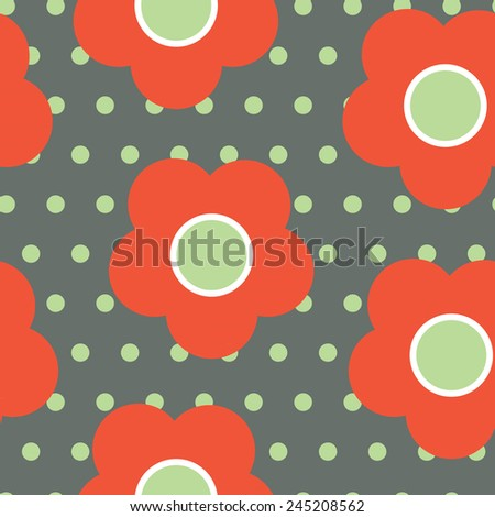 Seamless pattern with flowers. Polka dot print.  - stock vector