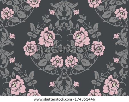 Seamless pattern with flowers roses, vector floral illustration in luxury style - stock vector