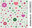 seamless pattern with flowers; vector - stock vector
