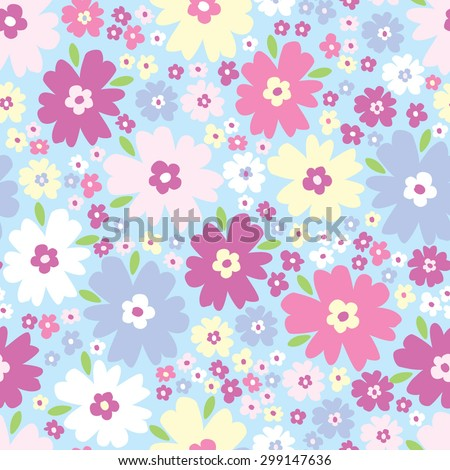 Seamless pattern with flowers. Vector background.