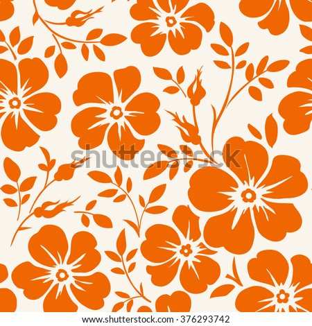 Seamless pattern with flowers. Vintage wallpaper with blooming flowers. - stock vector