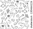 Seamless pattern with food and beverage icons and symbols. Cuisine background doodle. - stock vector