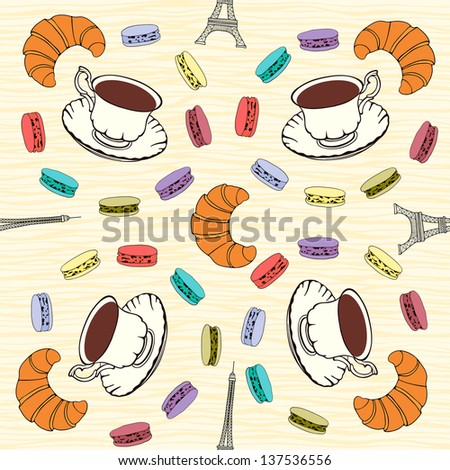 Seamless pattern with  French macaroons, croissants and black coffee. - stock vector