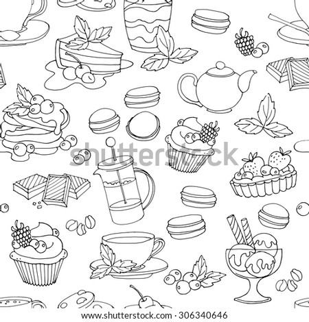 Seamless pattern with fresh desserts, coffee, tea, berry, ice cream, cupcakes and chocolate. Black and white. Vector illustration  - stock vector