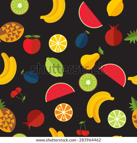 Seamless pattern with fresh fruit. Background for your design. Vector illustration. - stock vector