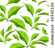 Seamless pattern with fresh green leaves on white - stock photo