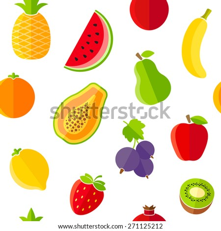 Seamless pattern with fresh organic fruits. The pattern can be repeated or tiled without any visible seams - stock vector