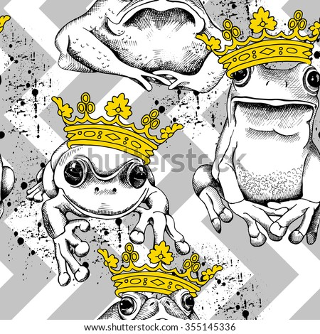 Seamless pattern with frog and toad wearing a yellow crown on a gray geometric ornament. Vector illustration. - stock vector