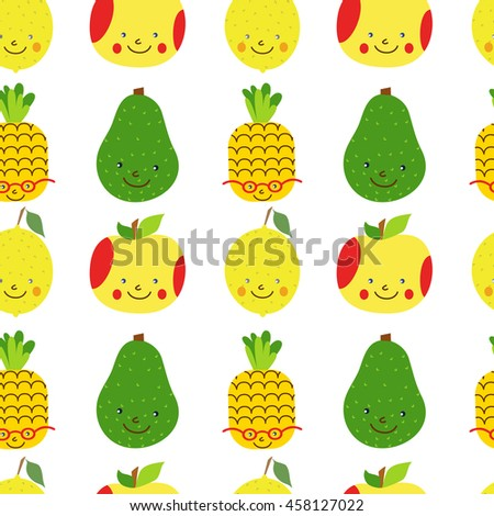 Seamless pattern with fruit. Cute cartoon character fruit. Funny fruit. Pineapple, Apple, Avocado, Lemon