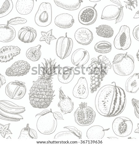Seamless pattern with fruits on white background. Vector  illustration for your design - stock vector
