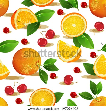 Seamless pattern with fruits. Orange, cherry, leaves and slices on white background.