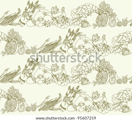 Seamless pattern with fruits vegetables and berries vector borders - stock vector