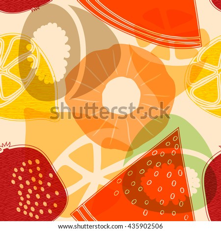 Seamless pattern with fruits: watermelon, orange, kiwi, pomegranate, melon, apple, 
