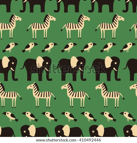 Seamless pattern with funny African animals and plants. Vector illustration.