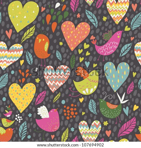 Seamless pattern with funny birds and big hearts - stock vector