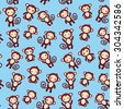 seamless pattern with funny brown monkey boys and girls on blue background. Vector - stock vector