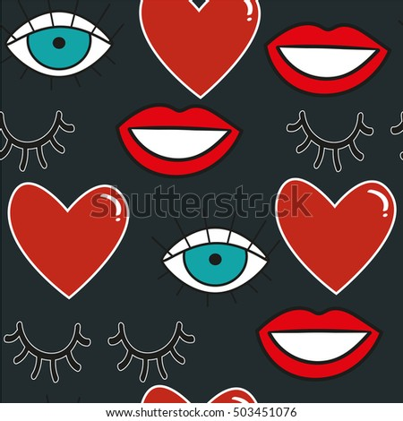 Seamless pattern with funny characters. Heart, eyes, eyelashes, lips, smile in cartoon style.