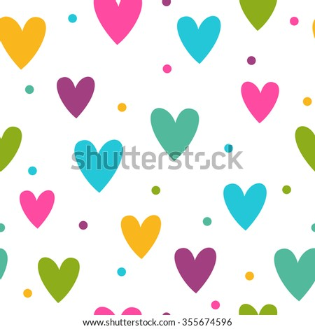 Seamless pattern with funny colorful hearts on white background, vector texture for web, textile or typography design - stock vector