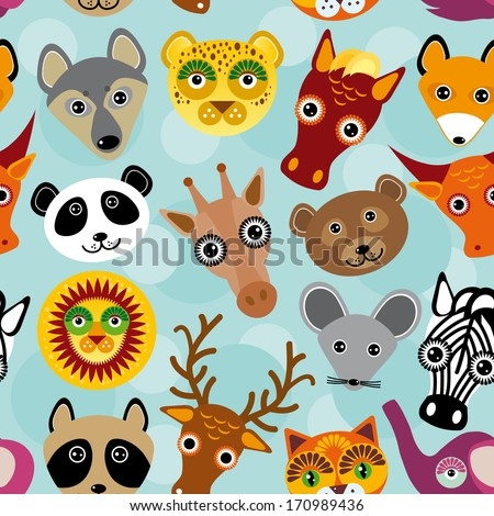 Seamless pattern with funny cute animal face on a blue background. vector - stock vector