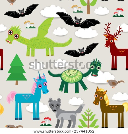 Seamless pattern with funny dragons, bats, unicorn, horse, deer, bird, wolf. vector - stock vector