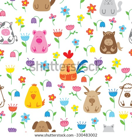 seamless pattern with funny farm animals