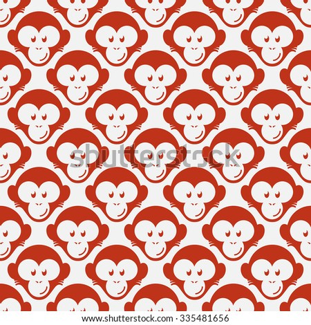 Seamless pattern with funny flat cartoon red monkey heads. Vector illustration. - stock vector