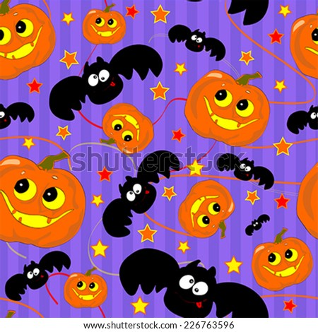 Seamless pattern with funny Halloween pumpkin and bat. Illustration, vector - stock vector