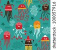 seamless pattern with funny octopuses - stock vector